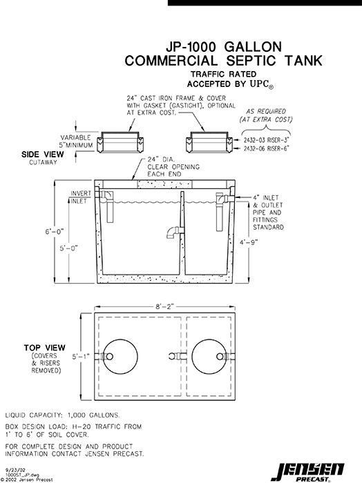 1000 gallon septic diagram 2000 gallon septic diagram for Septic system design drawings