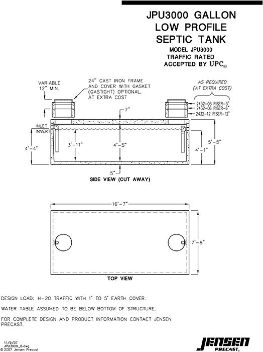 Jensen precast septic tanks commercial septic tanks for Septic tank fumes in house