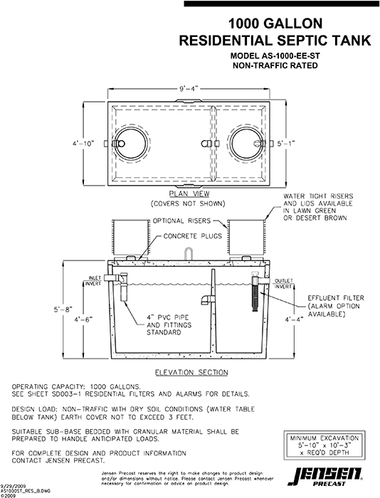 what are the dimensions of a 1000 gallon septic tank