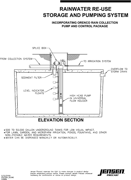 Jensen precast sewer and storm drain rain water for Cistern plans