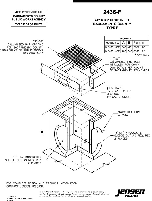 Jensen precast drainage inlets catch basins drop inlets for Types of drainage system pdf