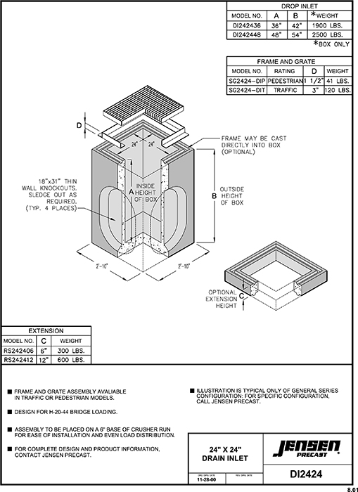 Jensen Precast Sewer And Storm Drain Drop Inlets