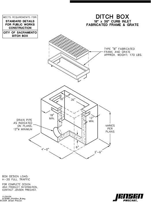 Jensen Precast Sewer And Storm Drain Curb Inlets