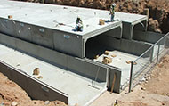 Type II 16' wide x 12' high center box culvert cell adjoined with two 12' wide x12' high end cells, El Mirage Rd. Phase B Project, El Mirage, Arizona.