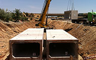 12' wide x 7' high double-cell monolithic box culvert with 24 inch RCP equalization pipes, CalTrans Project 03-441614.