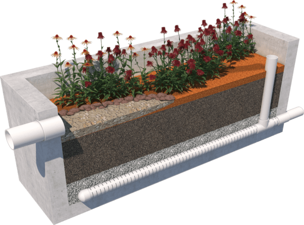 Stormwater Biofiltration System with Open Top Planter Box