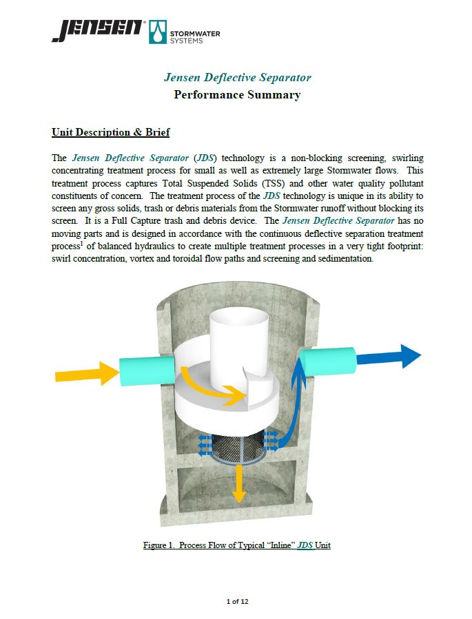JDS Hydrodynamic Separator Performance Summary